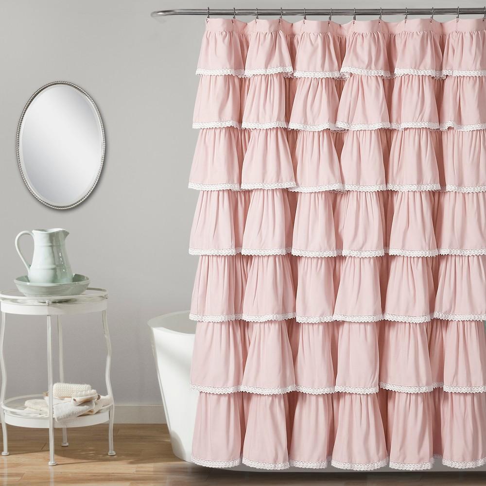 "Image of ""72""""x72"""" Ruffle Shower Curtain Blush - Lush Décor"""