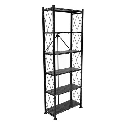 Origami 6 Tier Classic Stamped Steel Bookcase Organizer Storage Rack, Black