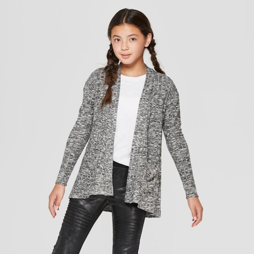 Girls' Waffle Knit Long Sleeve Cardigan - art class Charcoal (Grey) XL