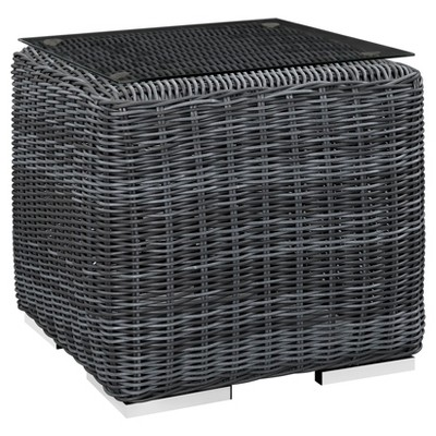 Summon Outdoor Square Patio Side Table - Gray - Modway