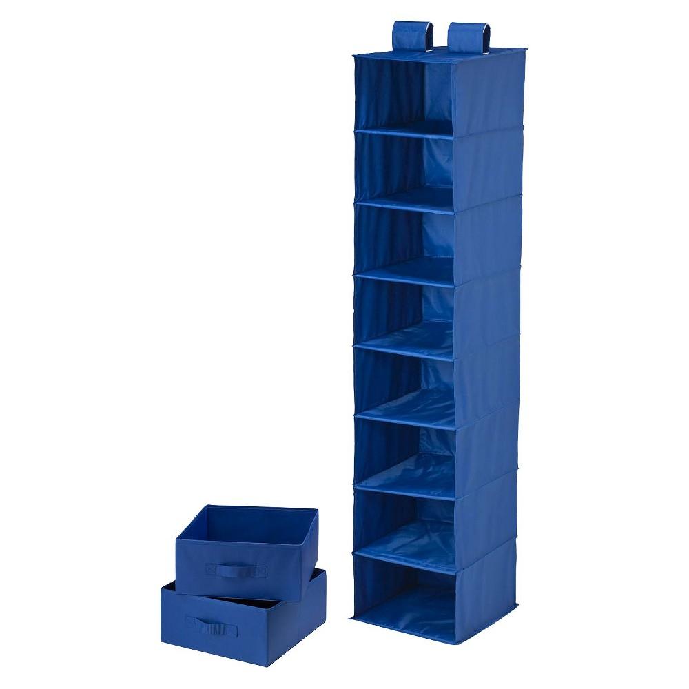 8Shelf Organizer and 2Drawers Blue