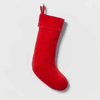 Velvet Quilted Christmas Stocking Red - Wondershop™