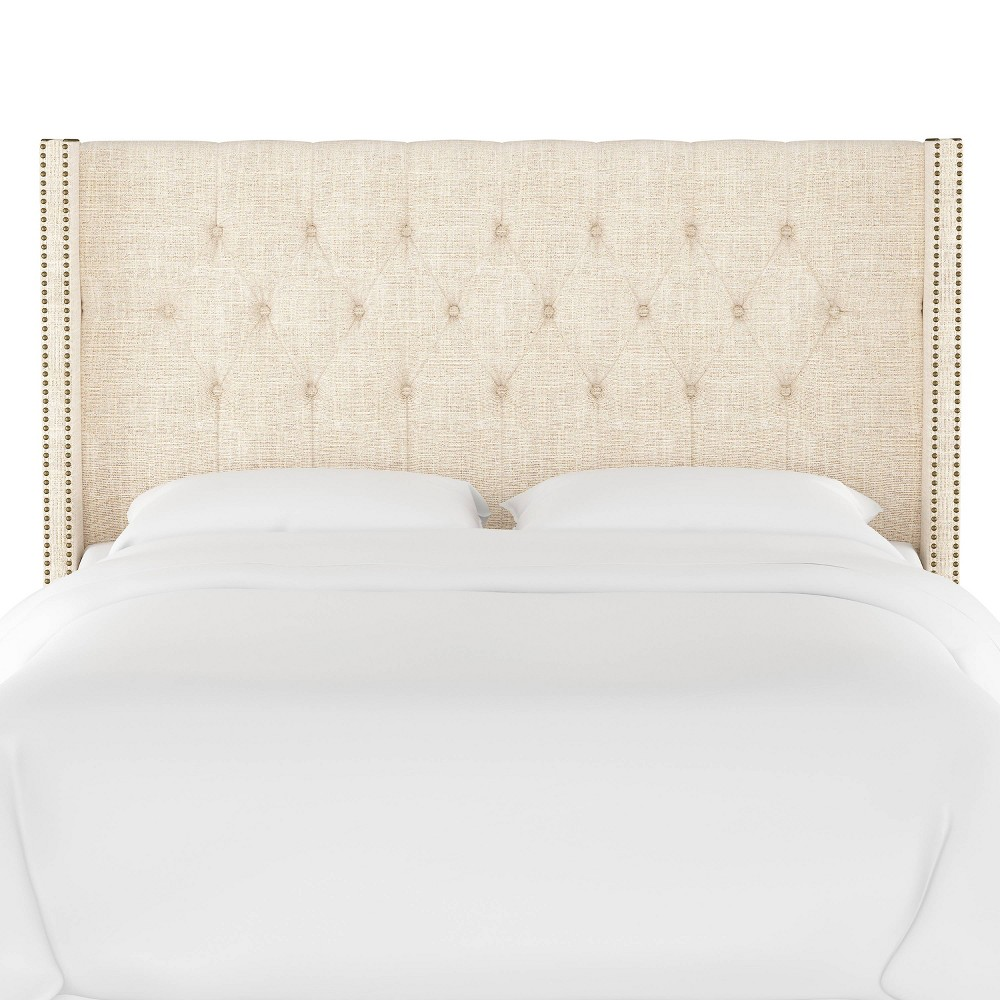 Queen Louis Diamond Tufted Wingback Headboard Cream Linen with Brass Nail Buttons - Skyline Furniture