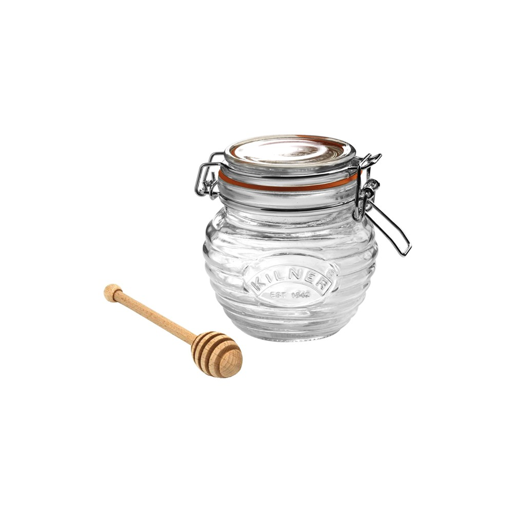Image of Kilner 13.5oz Glass Honey Pot Set, Clear