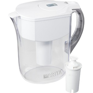Brita Large 10 Cup BPA Free Water Pitcher with 1 Standard Filter - White, Clear