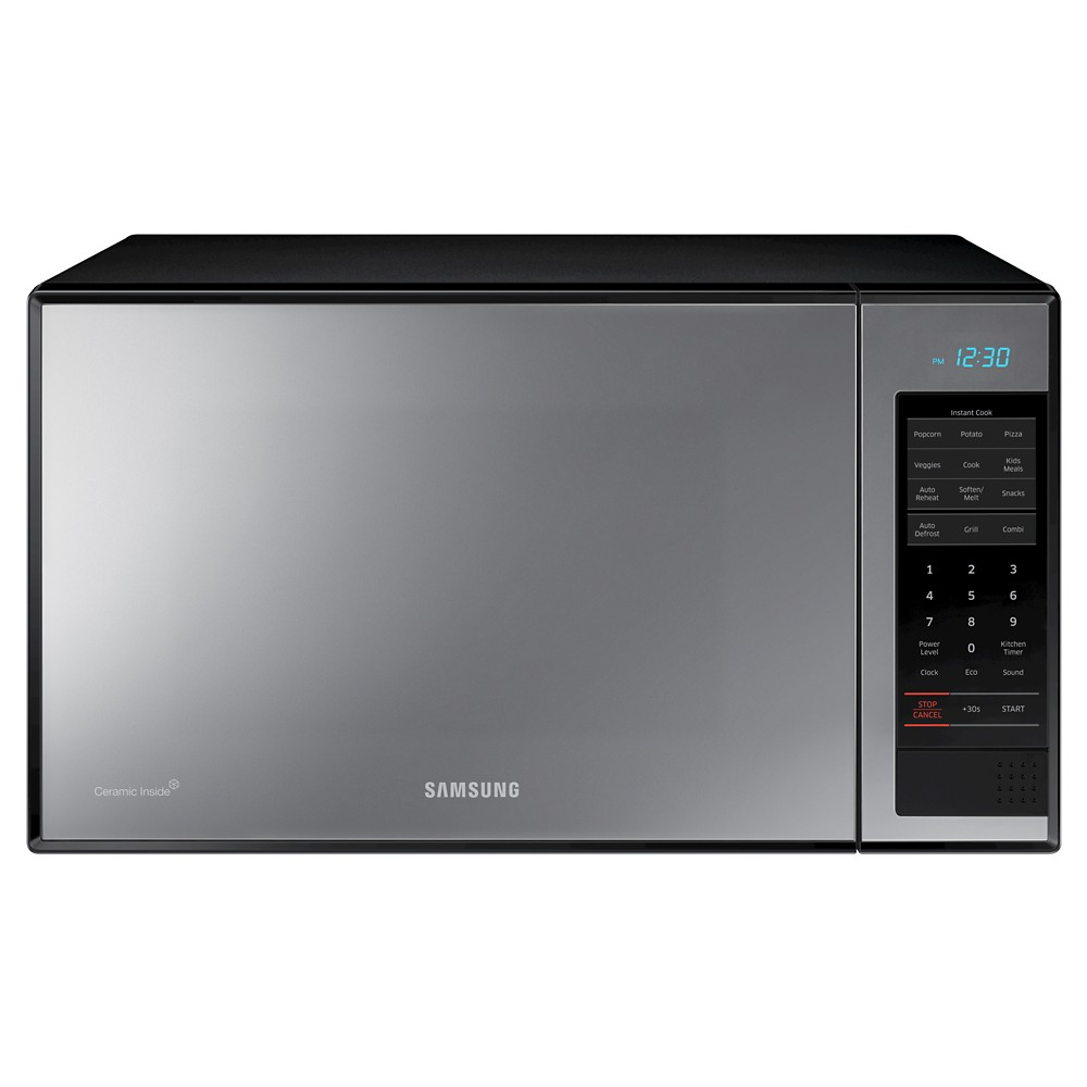 Samsung 1.4 Cu. Ft. 950 Watt Microwave Oven - MG14H33020, Black Complete your contemporary kitchen with the Samsung 950-Watt Microwave Oven. This modern microwave oven has a solid silver door that keeps it looking fresh. The silver microwave oven also has built-in features for items like veggies and popcorn, so you don't have to figure out a time yourself. Color: Black.