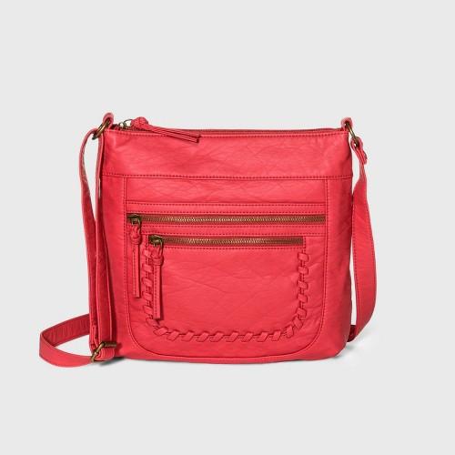 Bueno Zip Closure Crossbody Bag Red