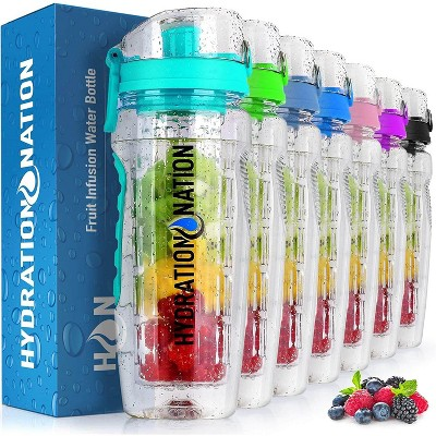 Hydration Nation Portable Water Bottle with Fruit Infuser for Healthy & Delicious Hydration