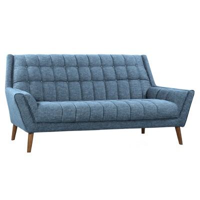 Cobra Mid-Century Modern Sofa Blue Linen/Walnut - Armen Living