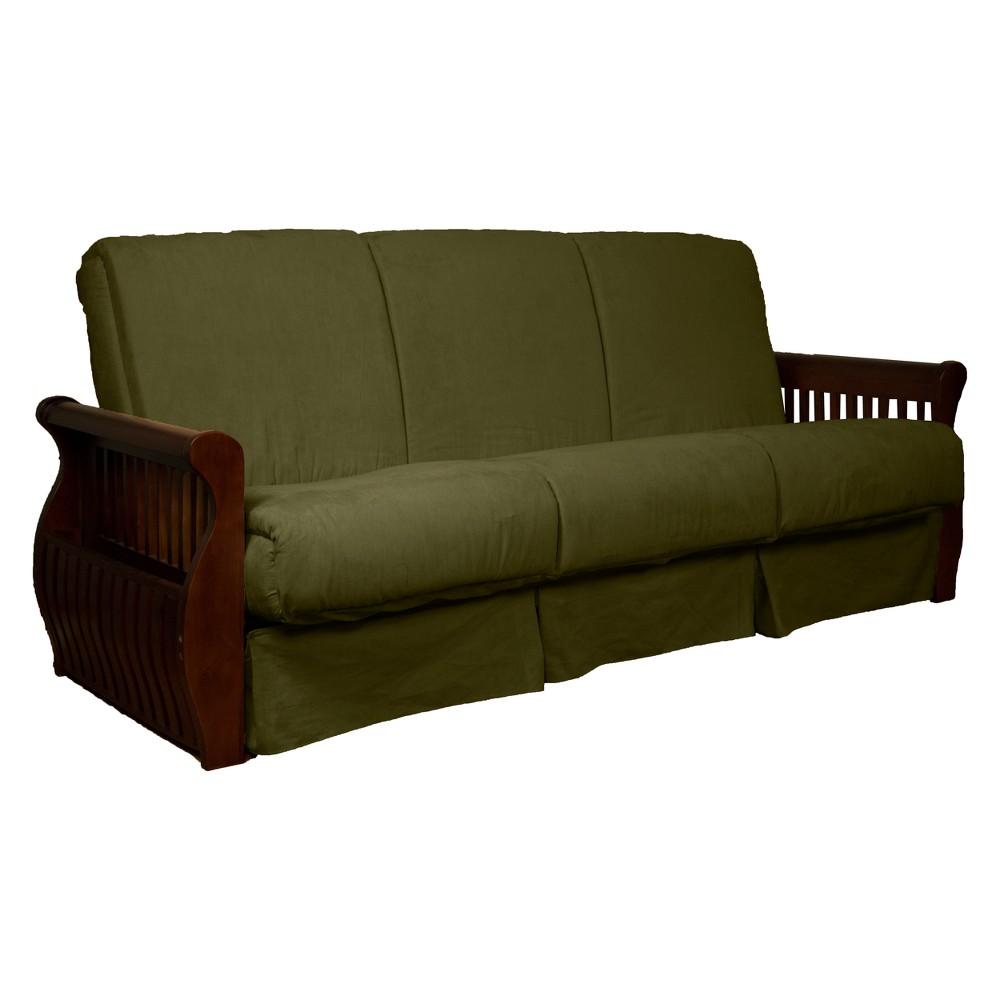 Storage Arm Perfect Futon Sofa Sleeper Walnut Wood Finish Olive Green - Epic Furnishings
