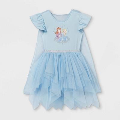 Toddler Girls' Disney Frozen Elsa and Anna Short Sleeve Tutu Dress - Blue