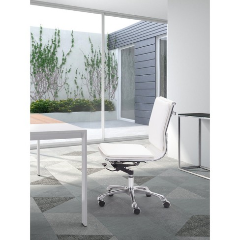 Ergonomic Upholstered Adjule Armless Office Chair White Zm Home Target