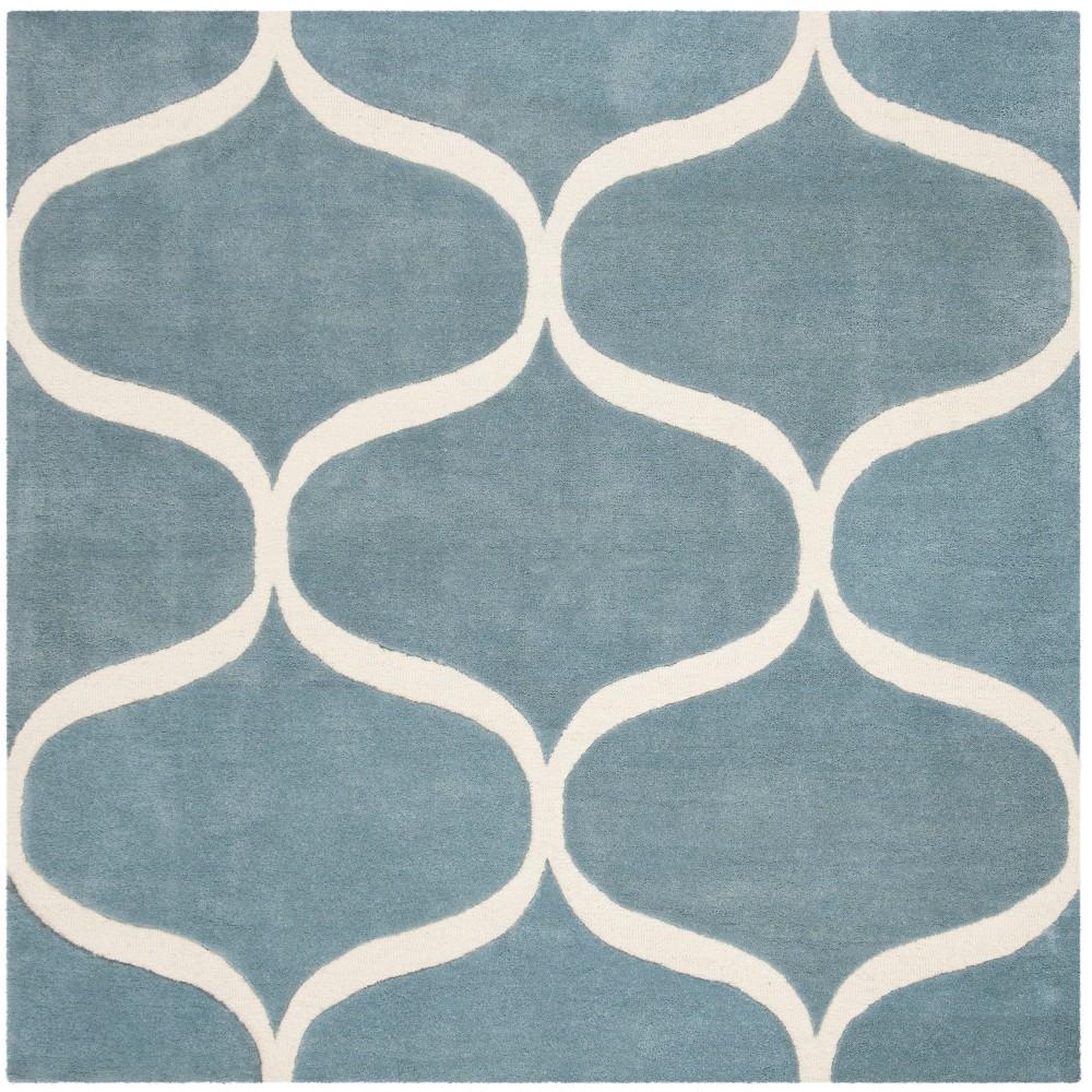 6'X6' Geometric Tufted Square Area Rug Light Blue/Ivory - Safavieh
