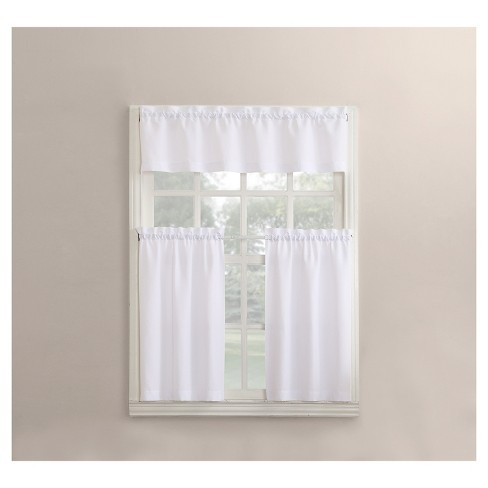 Martine Microfiber 3-Piece Kitchen Curtain Valance and Tiers Set White  54\