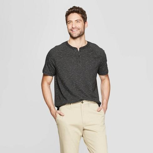 Men's Regular Fit Short Sleeve Henley Shirt - Goodfellow & Co™ Deep Charcoal - image 1 of 3