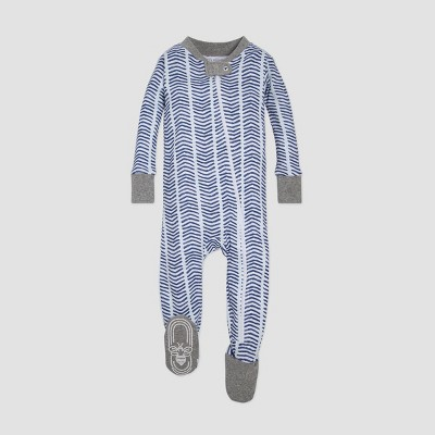 Burt's Bees Baby® Organic Cotton Boys' Watercolor Chevron Sleeper - Blue 6-9M