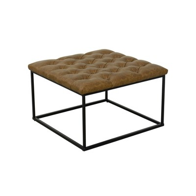 Square Metal Ottoman with Button Tufting Faux Leather Light Brown - HomePop