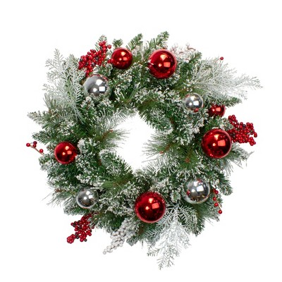 Northlight Flocked Mixed Pine with Ornaments and Berries Artificial Christmas Wreath - 24-Inch, Unlit
