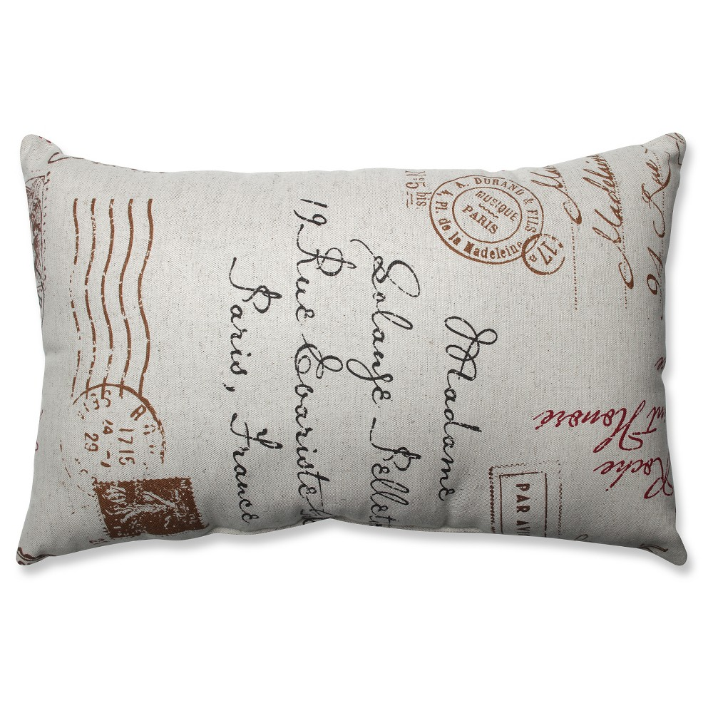 """Image of """"Linen/Red French Postale Lumbar Throw Pillow (11.5""""""""x18.5"""""""") - Pillow Perfect"""""""