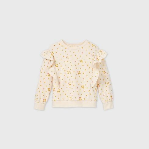 Toddler Girls' Hearts Lace Ruffle Sweatshirt - art class™ Cream - image 1 of 2