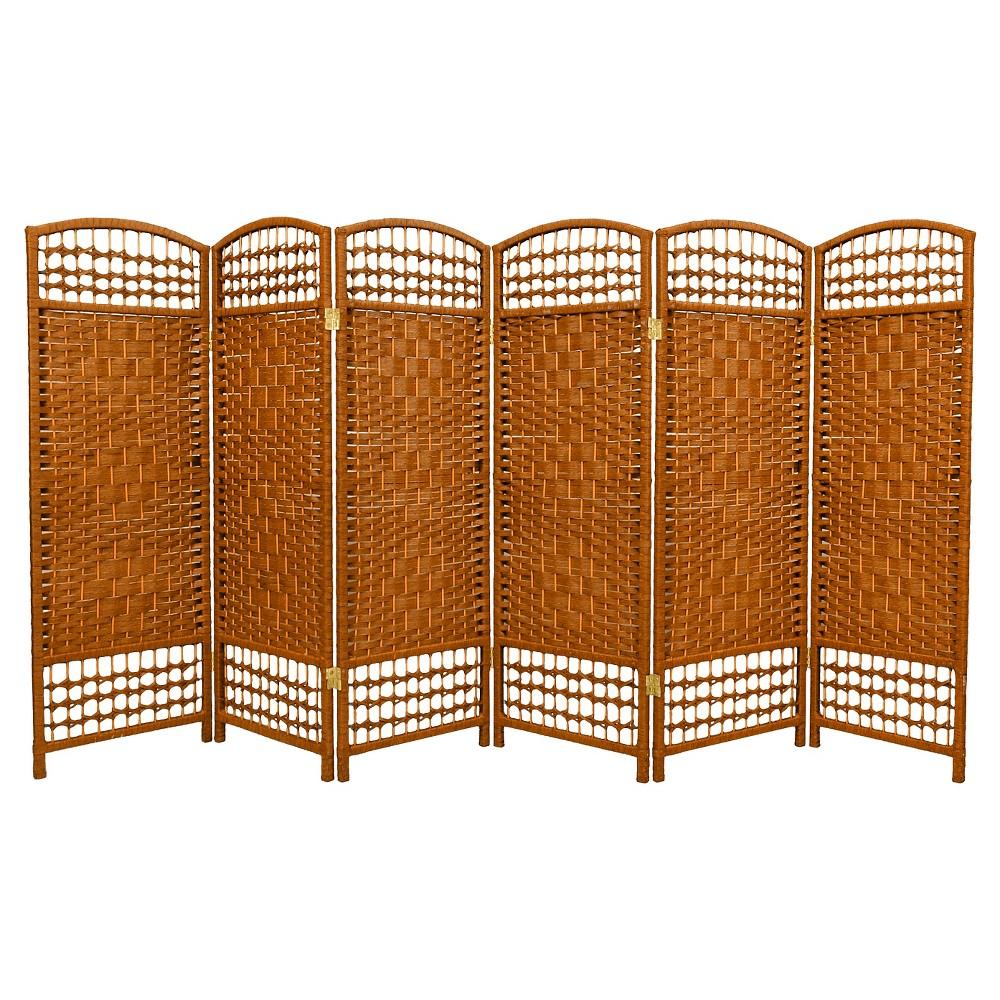 Image of 4 ft. Tall Fiber Weave Room Divider - Dark Beige (6 Panels) - Oriental Furniture, Medium Beige