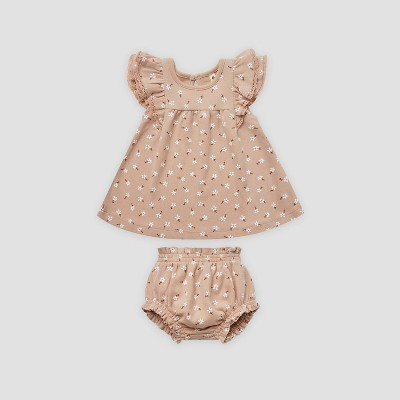 Q by Quincy Mae Baby Girls' 2pc Floral Brushed Jersey Dress Set - Blush Pink