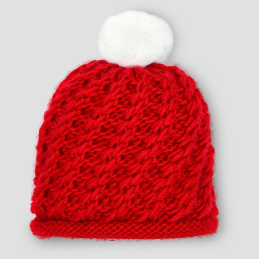 Baby Girls' Knit Pom Hat - Cloud Island Red Newborn