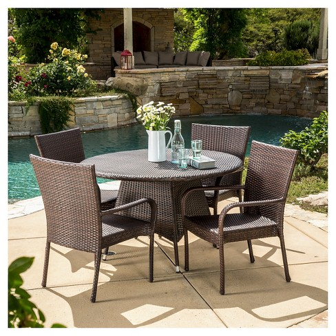Grant 5pc Wicker Patio Dining Set- Brown - Christopher Knight Home - image 1 of 4
