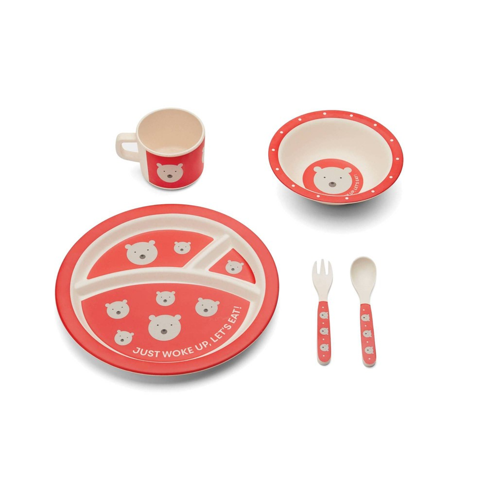 Image of 5pc Bamboo Fiber Polar Bear Dinnerware Set Red - Red Rover