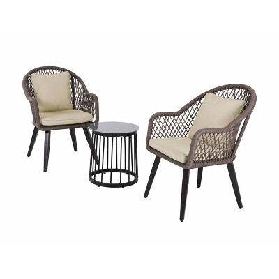 3pc Steel Patio Bistro Set Brown/Tan - Nuu Garden