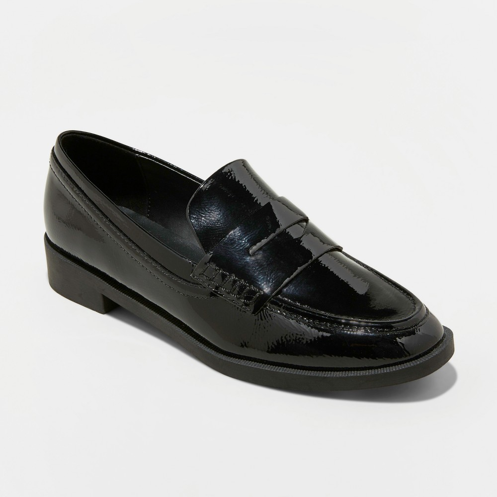Women's Bernadette Studded Faux Leather Patent Penny Loafers - A New Day Black 8