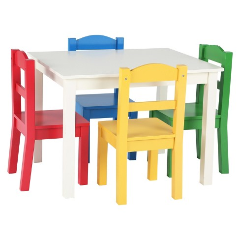 Wood Table & 4 Chairs - Summit Collection - White/Primary - Tot Tutors - image 1 of 3