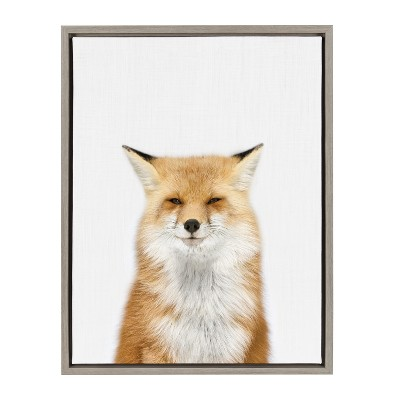 Kate & Laurel 24 x18  Sylvie Studio Fox Animal Print Portrait By Amy Peterson Framed Wall Canvas Gray