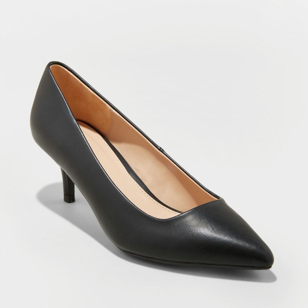 Women's Dora Wide Width Faux Leather Closed Toe Kitten Heeled Pumps - A New Day Black 11W, Size: 11 Wide