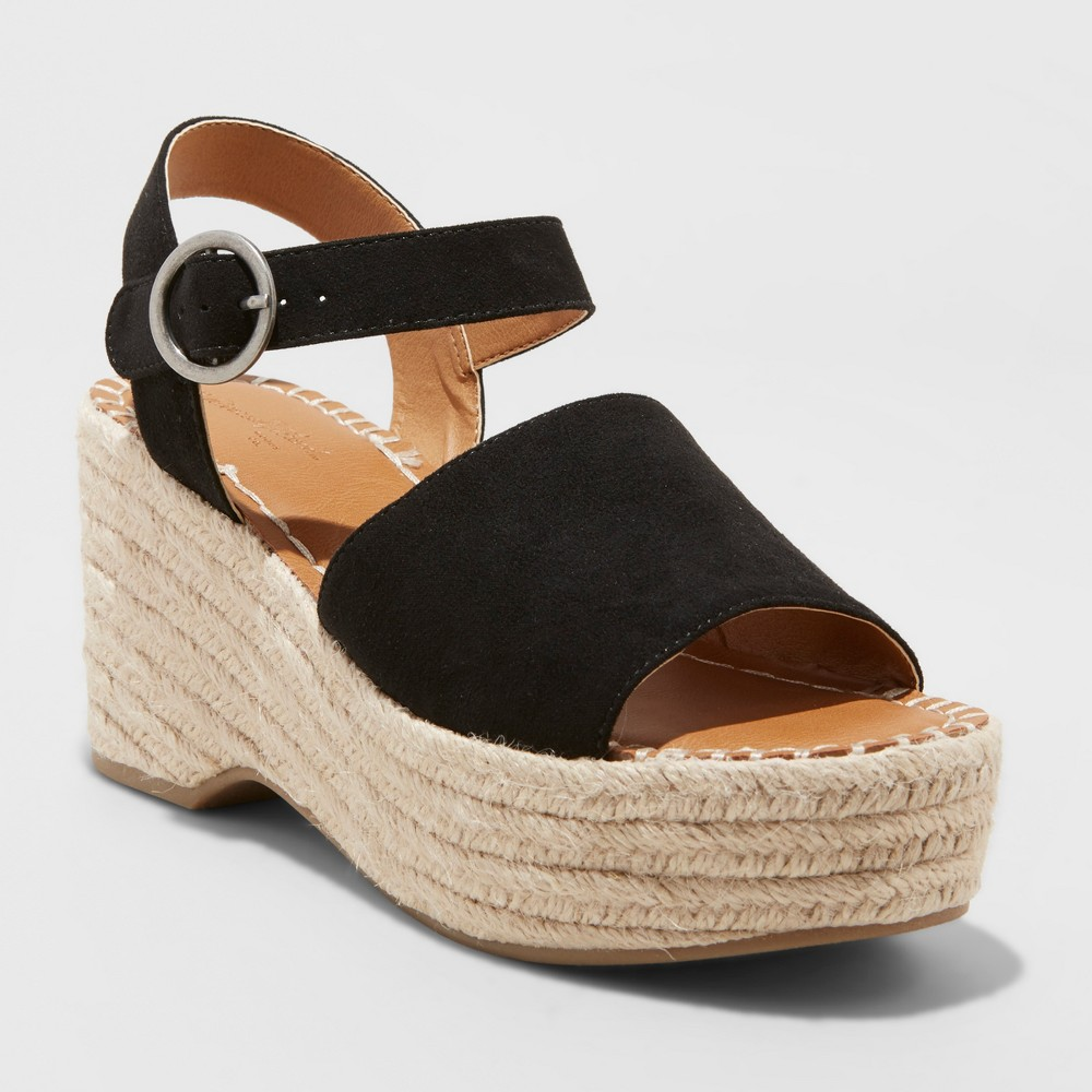 Women's Morgan Wide Width Two Piece Espadrille Wedge - Universal Thread Black 6W, Size: 6 Wide