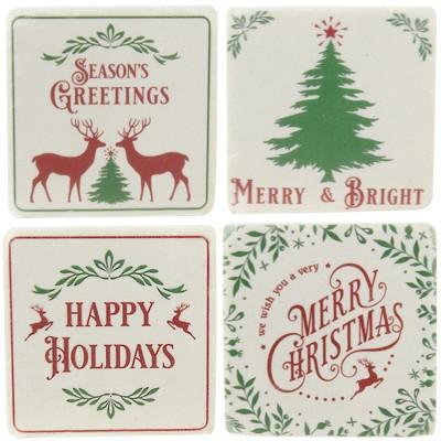 "Tabletop 3.75"" Holiday Text Coaster Set Christmas Holiday Deer Tree Ganz  -  Coasters"