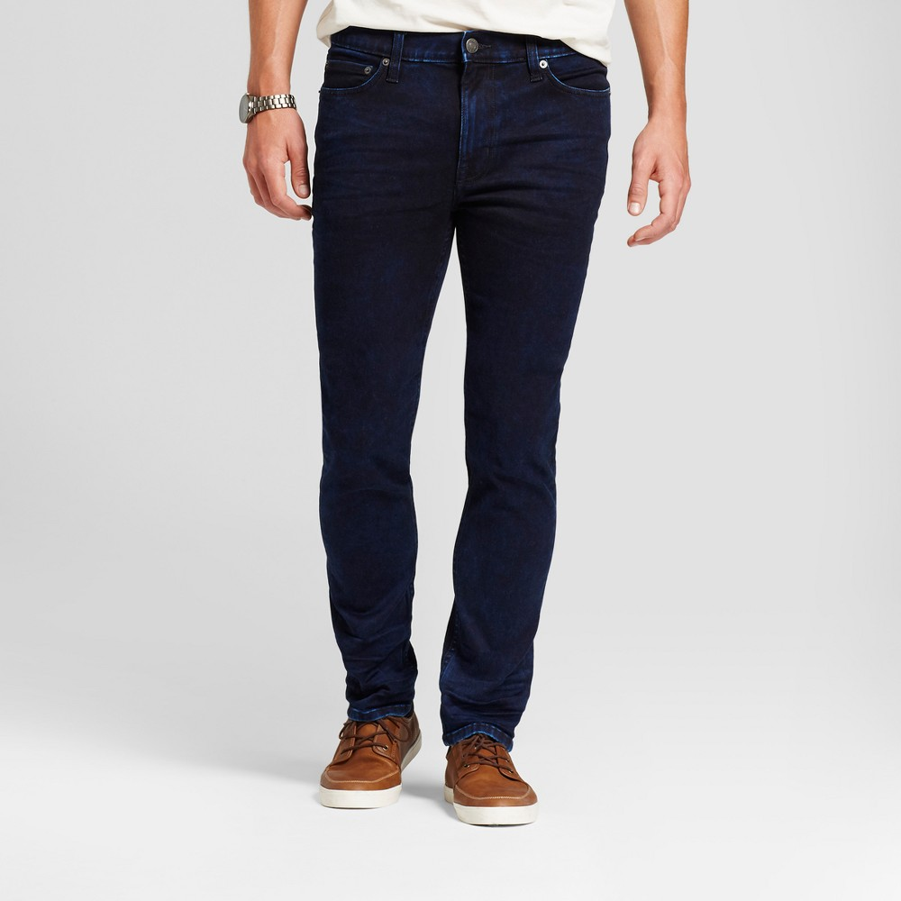 Men's Skinny Fit Jeans - Goodfellow & Co Inky Dark Wash 34x34, Blue