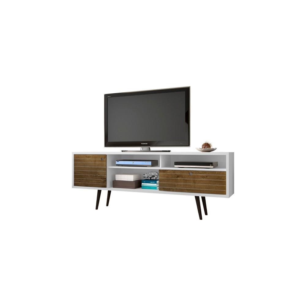 70.86 Liberty Mid Century Modern TV Stand White/Rustic Brown - Manhattan Comfort