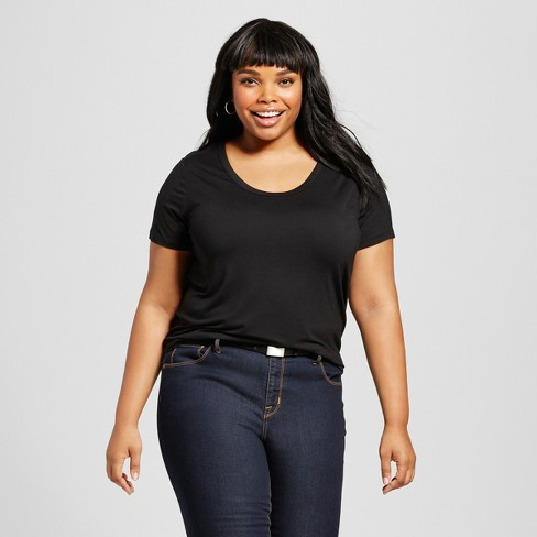 bc2cf9df3b3 Women s Plus Size Perfect T-Shirt - Ava   Viv™ Black 4X   Target