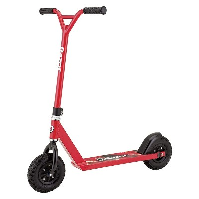 Razor Pro Kick Push Aluminum Heavy duty Outdoor Off Road Dirt Portable Scooter with Rubber Grip Handlebars and Rear Brakes, Red