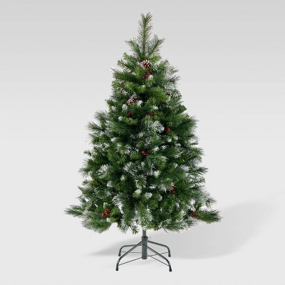 4.5ft Mixed Spruce Unlit Artificial Christmas Tree with Glitter - Christopher Knight Home