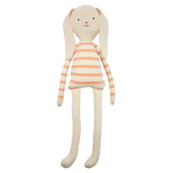 Meri Meri - Large Coral Stripe Bunny - Stuffed Dolls - 1ct