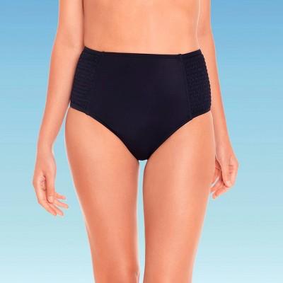 Women's Slimming Control Smocked High Waist Bikini Bottom - Beach Betty by Miracle Brands Black