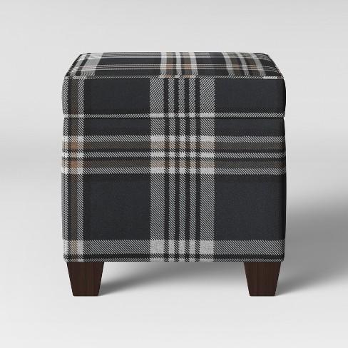 Phenomenal Fairland Square Storage Ottoman Indigo Plaid Threshold Pabps2019 Chair Design Images Pabps2019Com