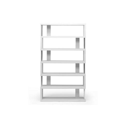 "75.5"" Barnes Six Shelf Modern Bookcase White - Baxton Studio - image 1 of 3"