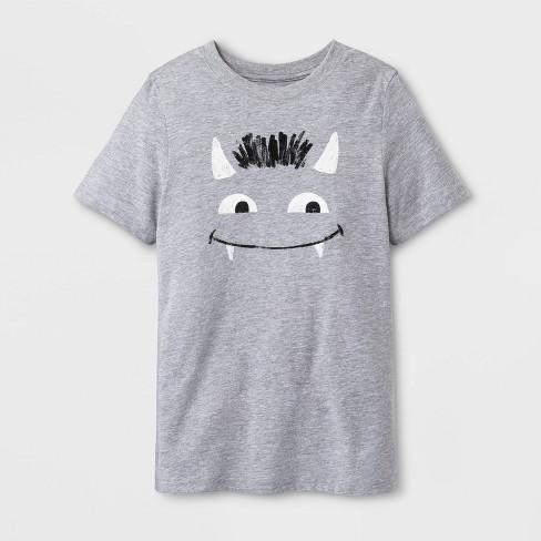 Kids' Goblin Graphic T-Shirt - Cat & Jack™ Heather Gray - image 1 of 1