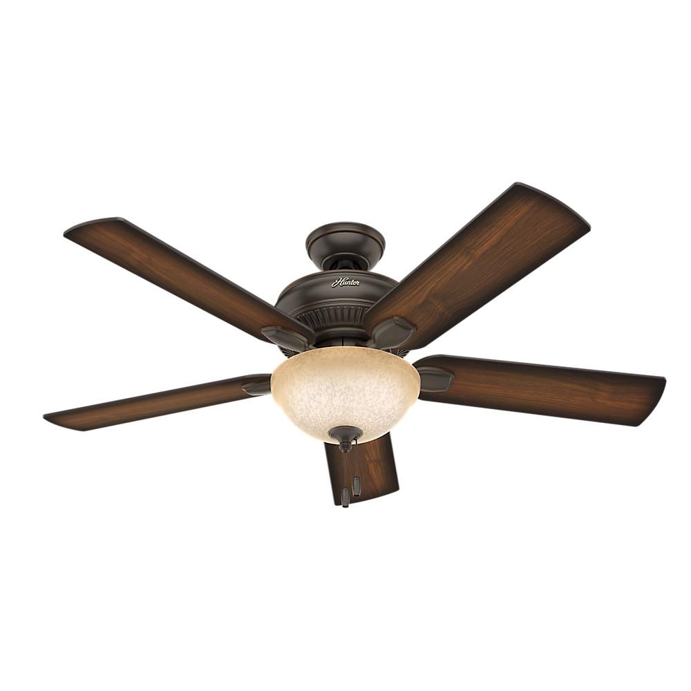 "Image of ""52"""" Matheston Onyx Bengal Ceiling Fan with Light - Hunter Fan"""
