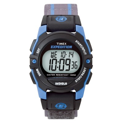 Timex Expedition® Digital Watch with Fast Wrap® Nylon Strap - Blue/Gray T49660JT