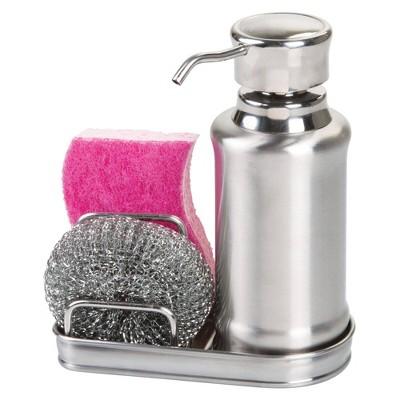 iDESIGN York Ergo Soap & Scrubby Center Silver