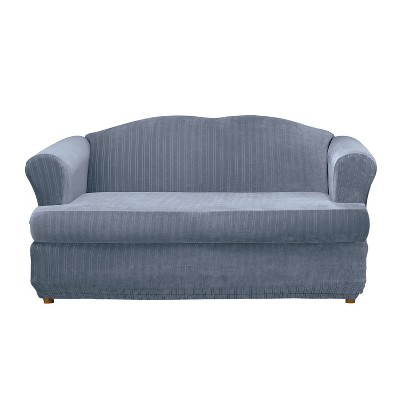 Stretch Pinstripe T-Loveseat Slipcover - Sure Fit